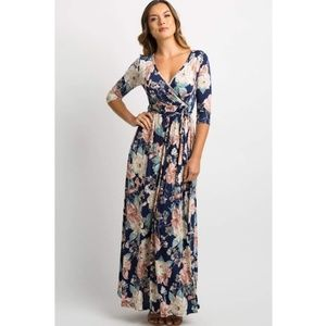NWT PinkBlush Navy Floral Maternity Maxi Dress
